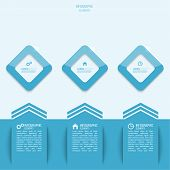 Blue paper stickers and glossy diamonds infographic