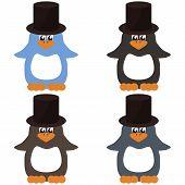 four nice penguins on white