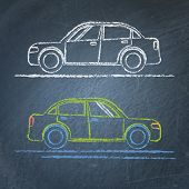 Car sketch on chalkboard