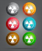 image of radioactive  - set of vector icons radioactivity for website - JPG