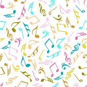 Seamless musical pattern with colorful musical notes.