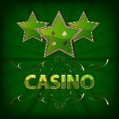 Casino background with green stars and ornate pattern
