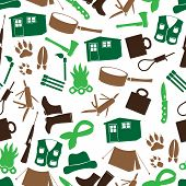 Simple Backwoodsman Icons Seamless Pattern Eps10