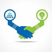 businessmen handshake between leadership and teamwork stock vector