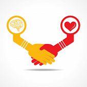 businessmen handshake between men having brain and heart stock vector