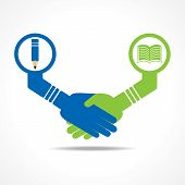 businessmen handshake between educated people stock vector