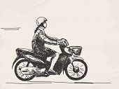 Sketch of woman riding motorcycle Hand drawn vector illustration