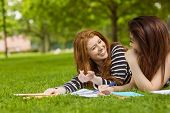 Cheerful female college students with books in the park