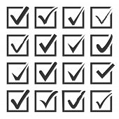 Vector set of black confirm icons set for check box design.