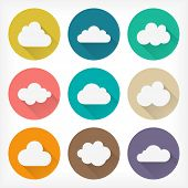 Vector flat clouds icons set for web and mobile applications