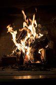 Closeup Of Burning Home Fireplace