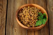 Cooked Lentils In Wooden Bowl