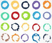 Set of colorful circle, round, brush strokes.