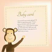 picture of baby-monkey  - a colored background with a baby card and a monkey - JPG