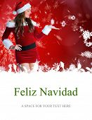 pretty girl in santa costume holding hand out against feliz navidad