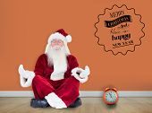 Santa Claus sits and meditates against room with wooden floor
