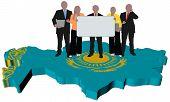 Business Team On Kazakhstan Map Flag