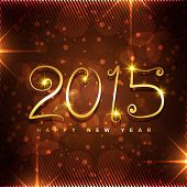 stylish 2015 typo written in golden with glowing stars and transparent circles