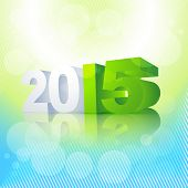 2015 written in perspective with green blue colors background