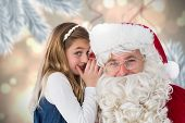 Santa listening to little girl against digital hanging christmas bauble decoration