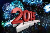 2015 squashing 2014 against colourful fireworks exploding on black background