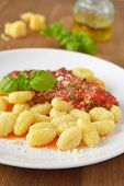 Potato gnocchi with tomato sauce and Parmesan cheese