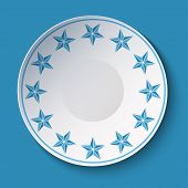 Ceramic Plate With Christmas Stars Ornament