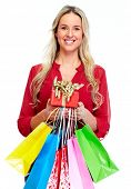 Woman with shopping bags isolated white background.
