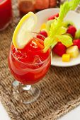 image of bloody mary  - A Bloody drink Mary served with fruit - JPG
