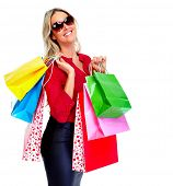 Customer woman with shopping bags isolated white background