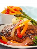 stock photo of rib eye steak  - Grilled rib - JPG