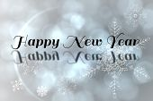 Happy new Year against silver snow flake pattern design