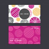 Vector abstract textured bubbles vertical round frame pattern business cards set