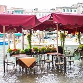 cafe restaurant tables and chairs  in Venice at flood