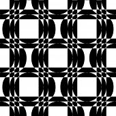 Abstract Square and Circle Pattern. Vector Seamless Monochrome Background. Regular Geometric Texture