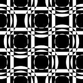 Abstract Square and Circle Pattern. Vector Seamless Geometric Wallpaper. Regular Monochrome Background