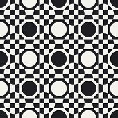 Abstract Circle and Square Pattern. Vector Seamless Monochrome Background