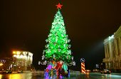 Minin Square Decorated Light Christmas Trees With Red Star