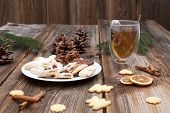 Christmas Cookies On A Wooden Table