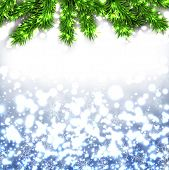 Blue christmas background with fir and snowflakes. Vector illustration.