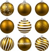 Gold christmas balls on white surface. Set of isolated realistic decorations. Vector illustration.