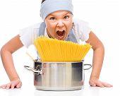 Pretty Girl Preparing Spaghetti