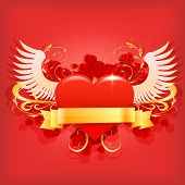Vector glossy red heart.