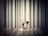 little child and 3d abstract background