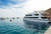 Sharm El Sheikh, Egypt -  December 4: The Yacht With Tourists Is Near Pier In Harbor Of Sharm El She