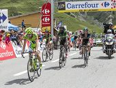The Peloton On Col Du Lautaret
