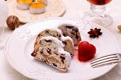 Christmas Stollen Cake With Strawberry