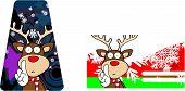 reindeer cartoon xmas giftcard