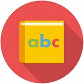 foto of childrens literature  - Alphabet book modern flat icon with long shadow - JPG