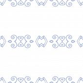 Vector simple seamless pattern, blue elements on white background
